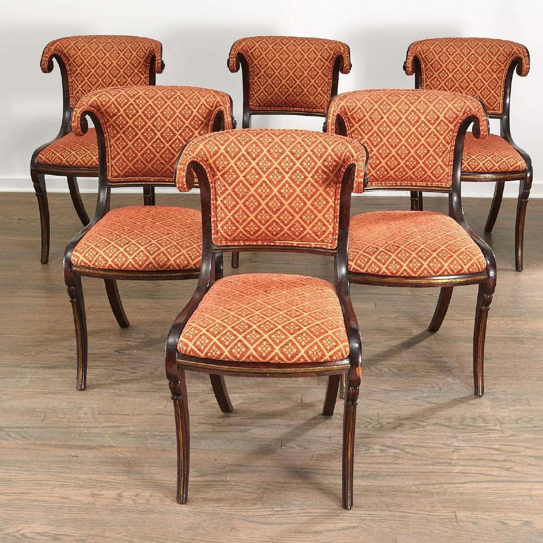 Set (6) Regency style Klismos dining chairs