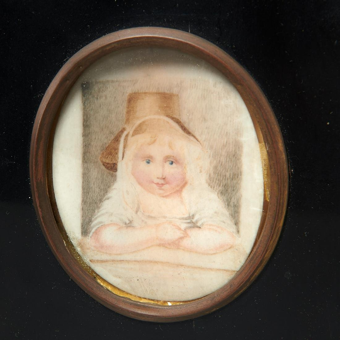 (2) child portrait miniatures with animals - 3