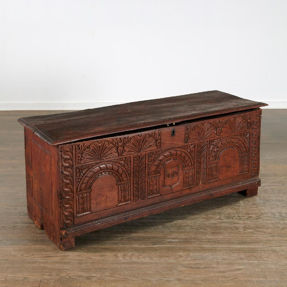 Charles I style carved dated coffer