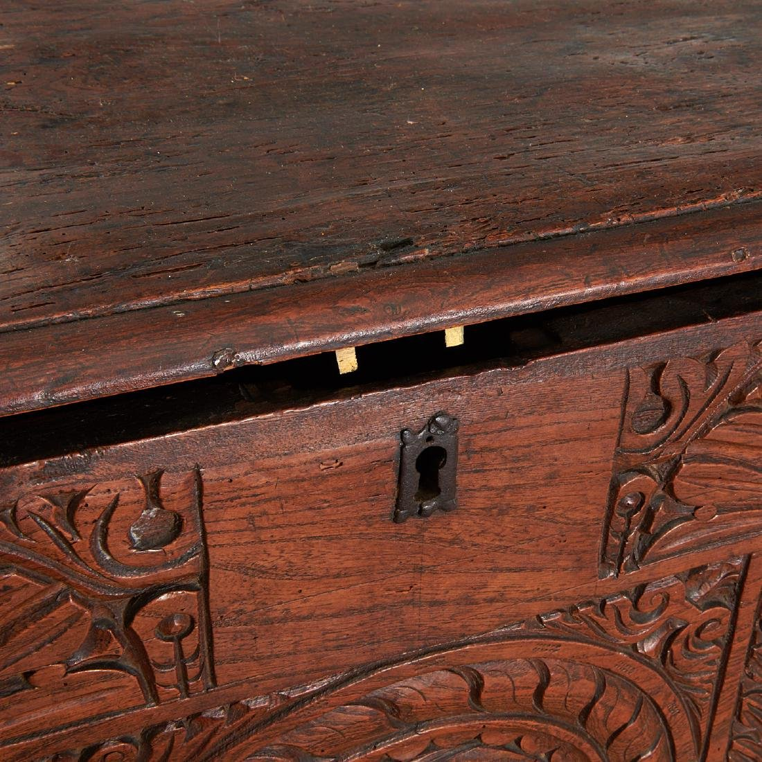 Charles I style carved dated coffer - 2
