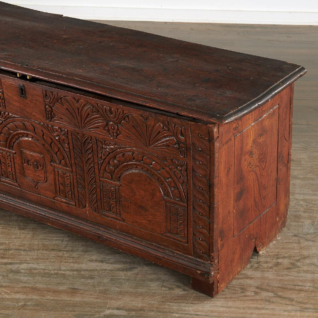 Charles I style carved dated coffer - 3