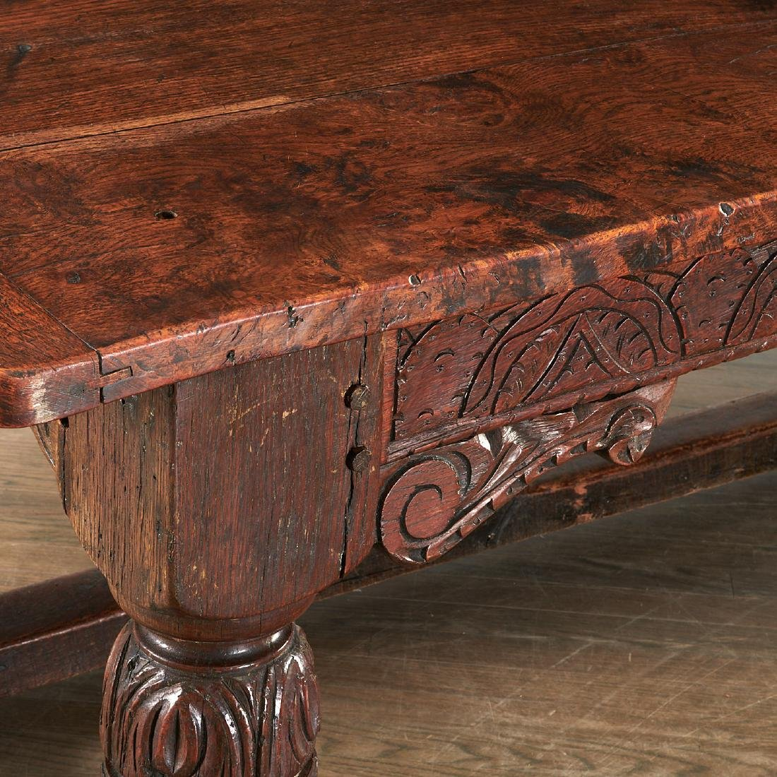 William & Mary carved oak refectory table - 2