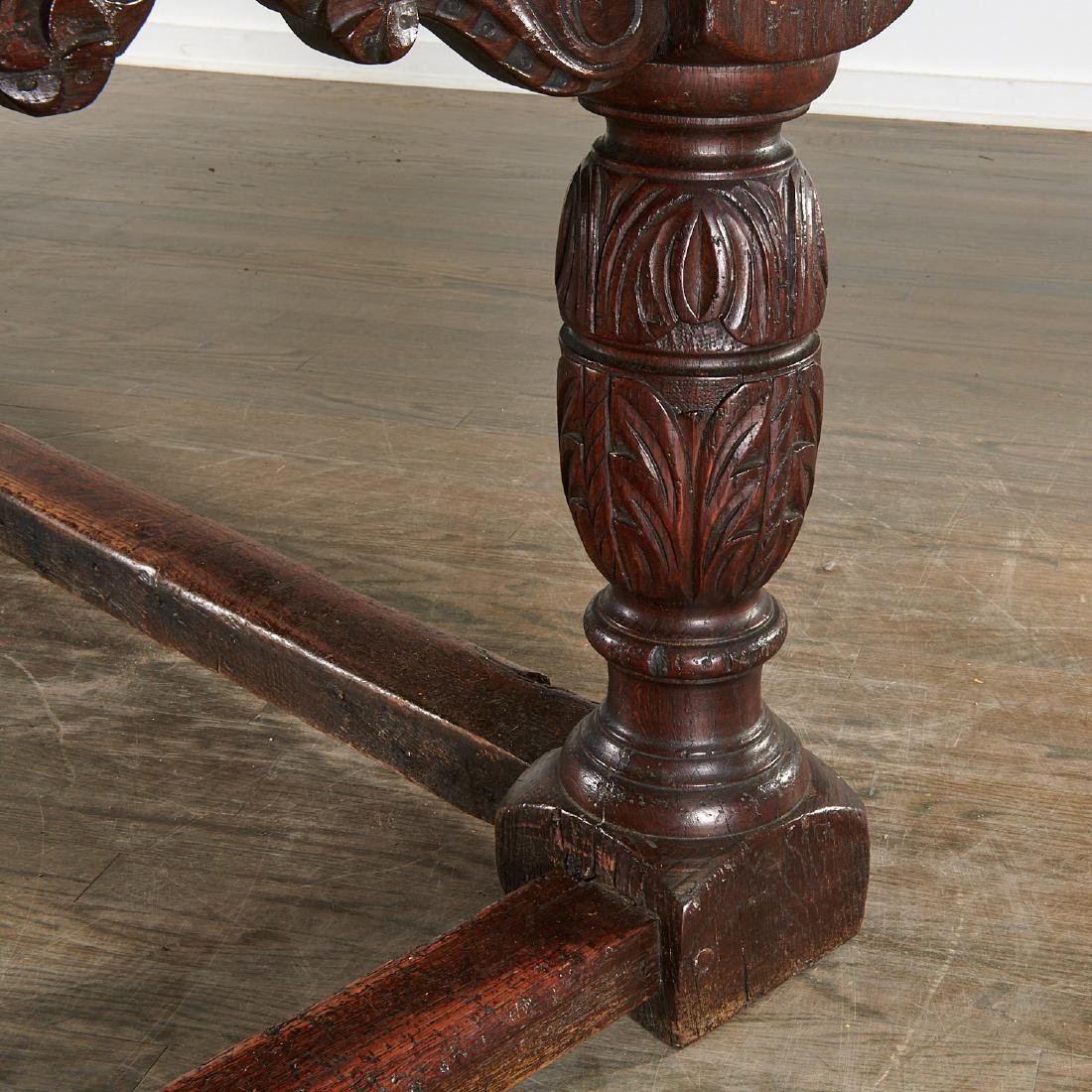 William & Mary carved oak refectory table - 5