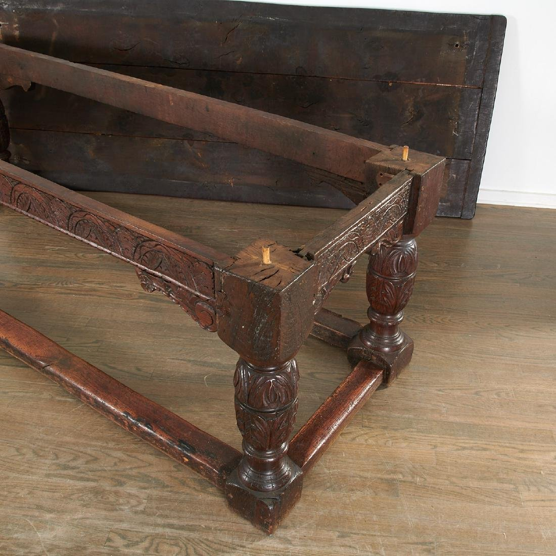 William & Mary carved oak refectory table - 6