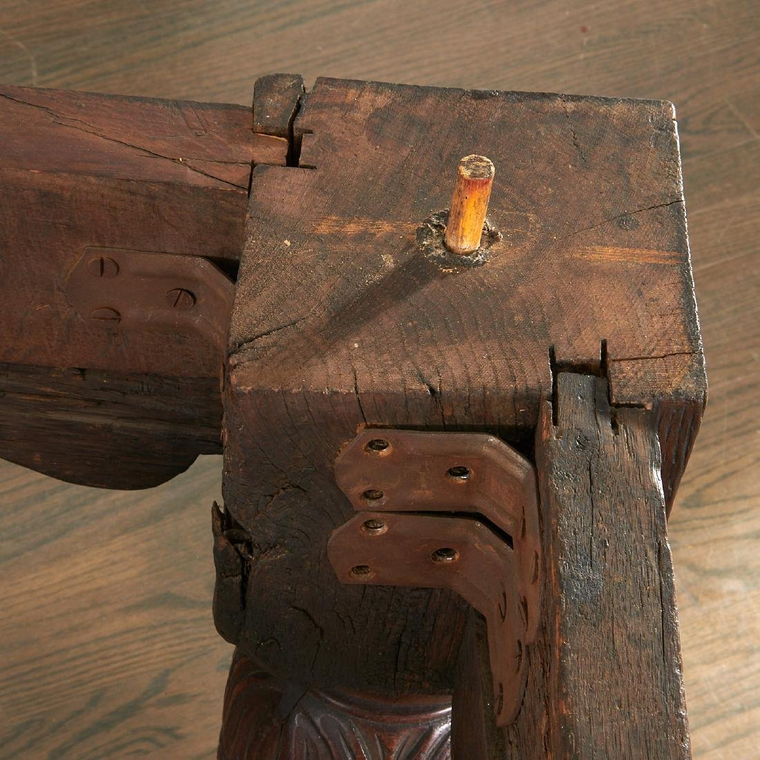 William & Mary carved oak refectory table - 7