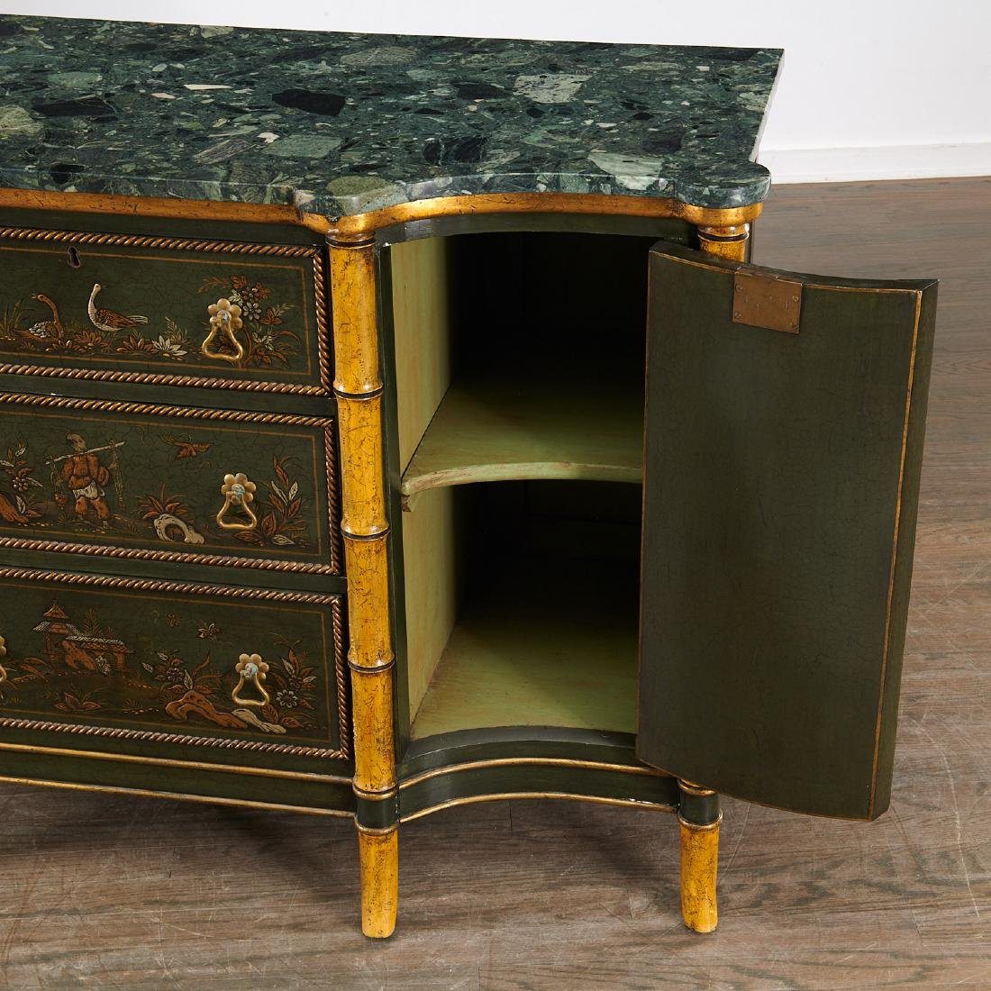 Antique Regency style green japanned side cabinet - 6