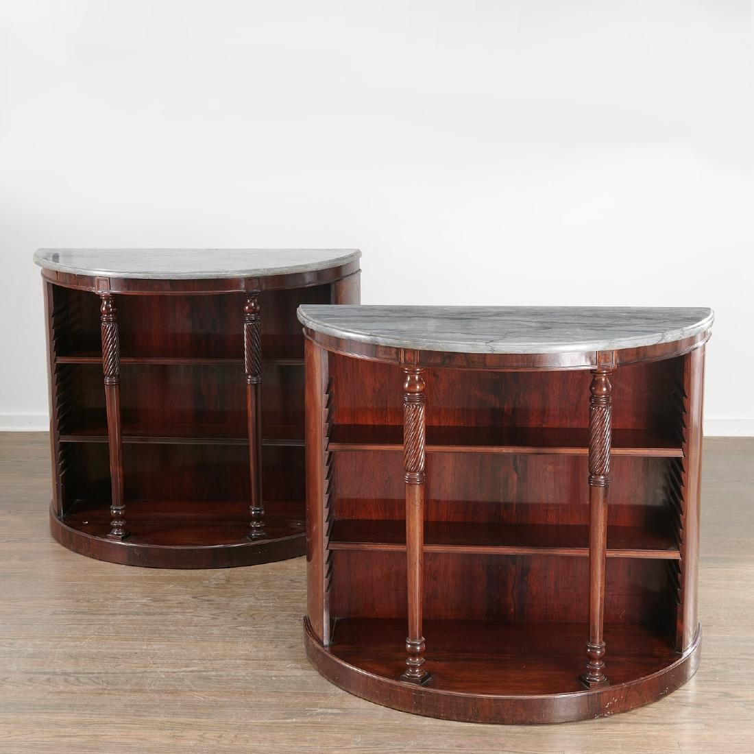 Pair Regency style demilune bookcases