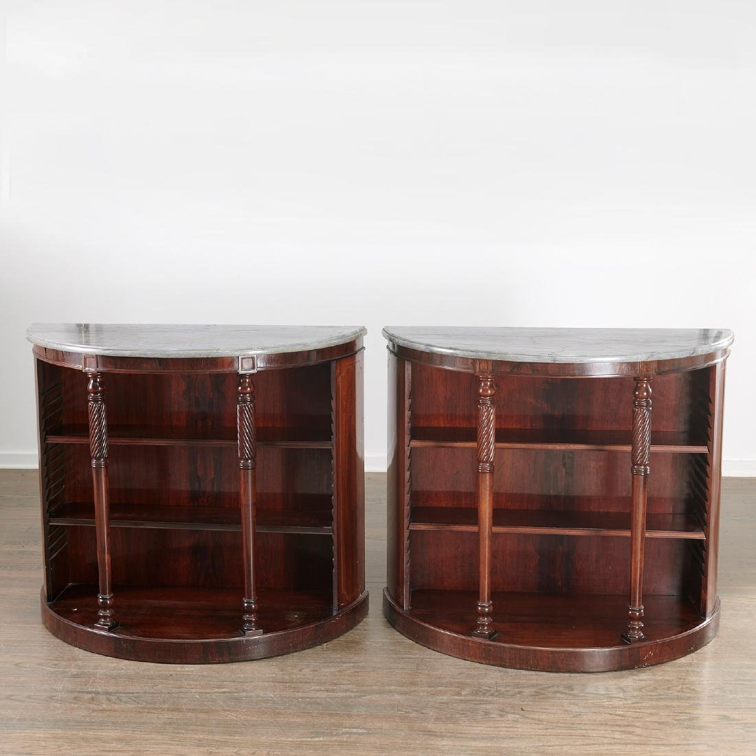 Pair Regency style demilune bookcases - 2