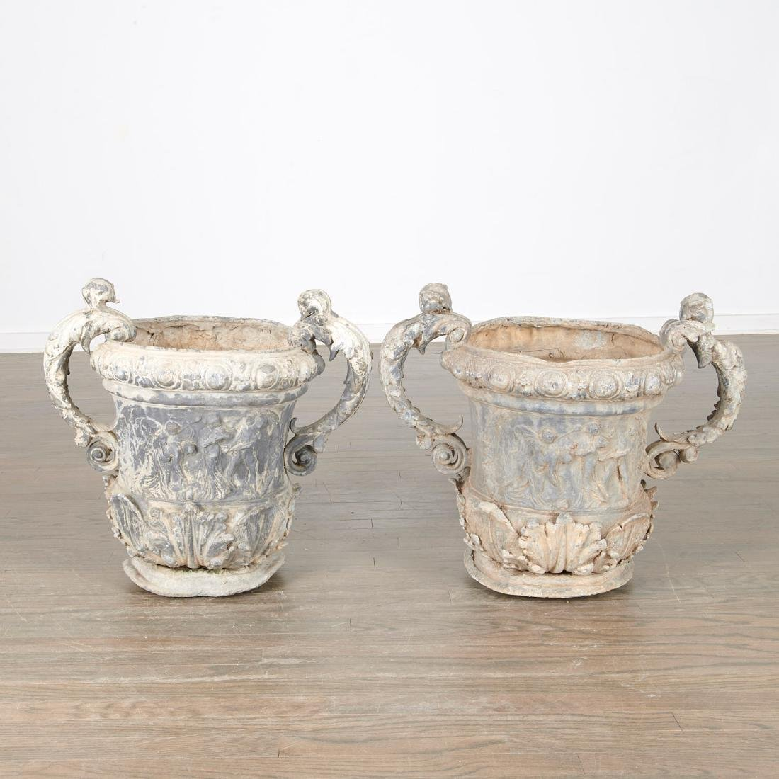 Pair Charles II style lead garden urns