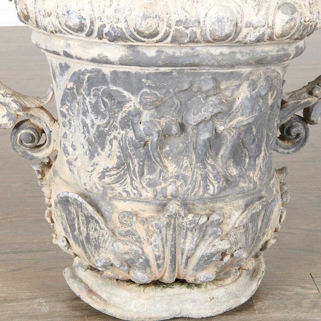 Pair Charles II style lead garden urns - 3
