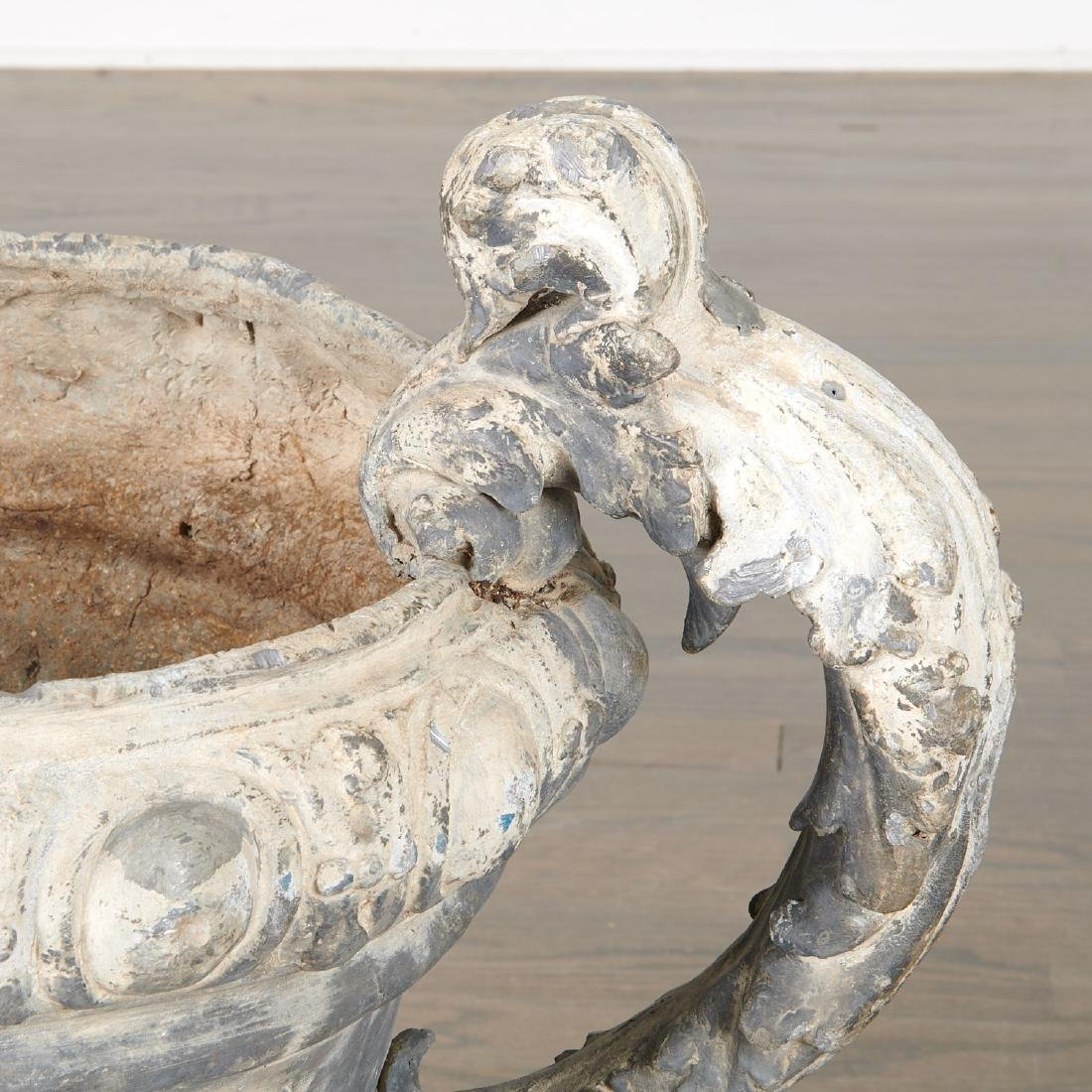 Pair Charles II style lead garden urns - 4