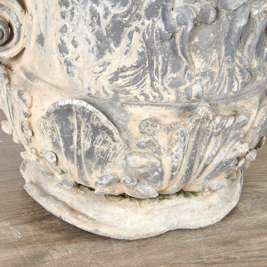 Pair Charles II style lead garden urns - 5