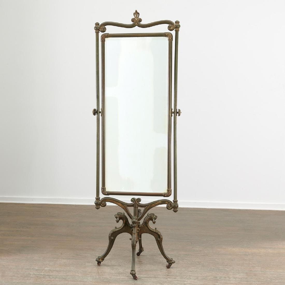 Art Nouveau brass cheval mirror