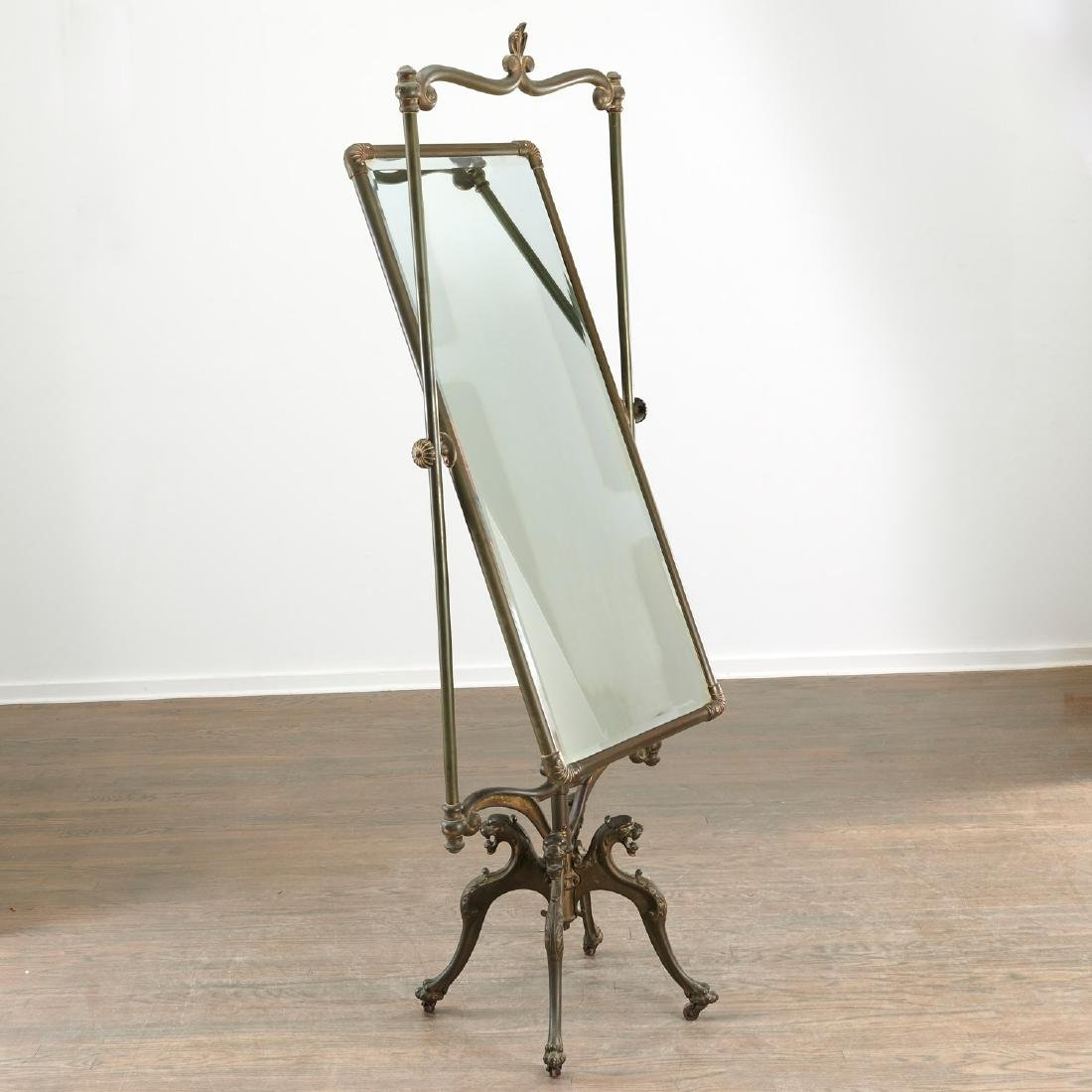 Art Nouveau brass cheval mirror - 2