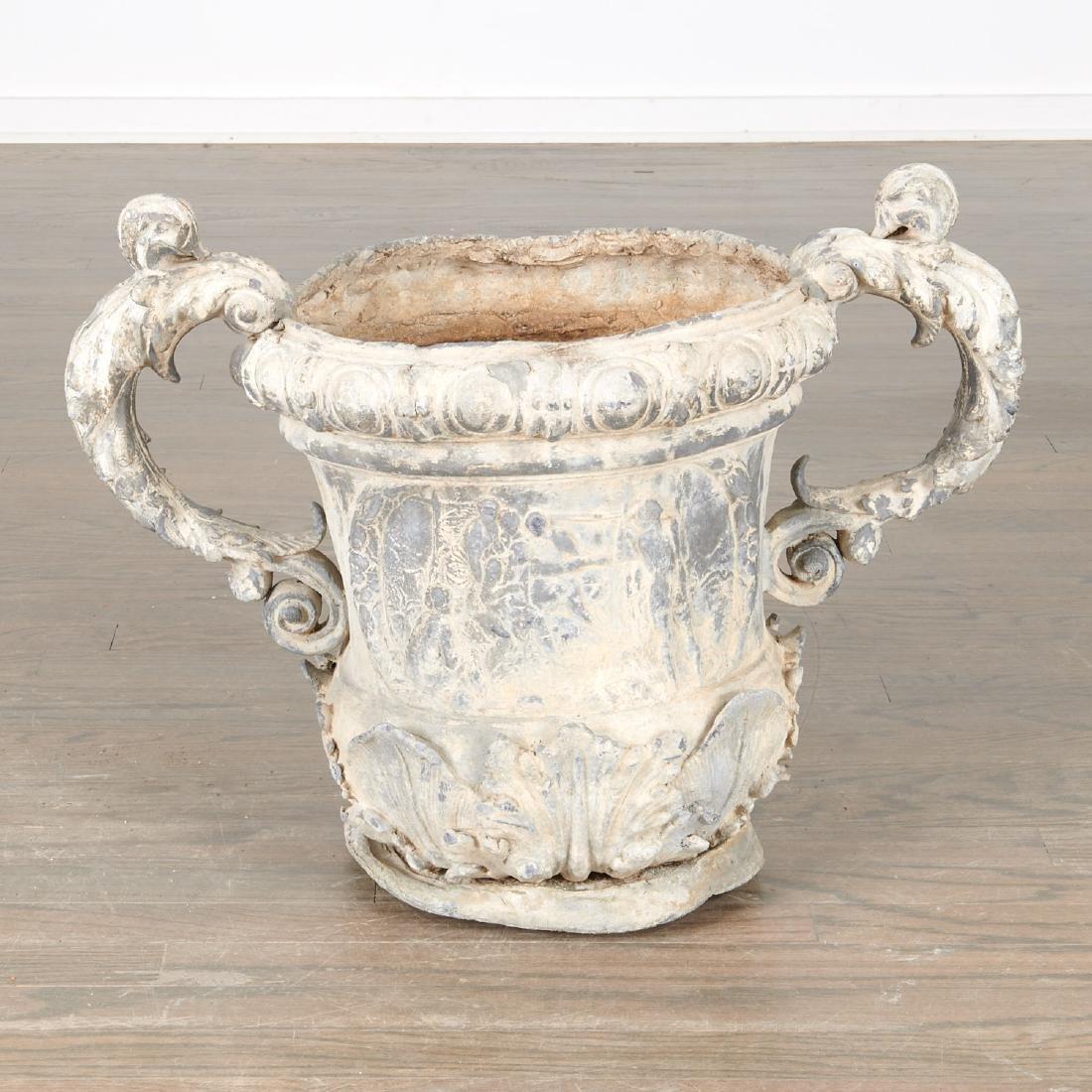 Pair Charles II style lead garden urns - 2
