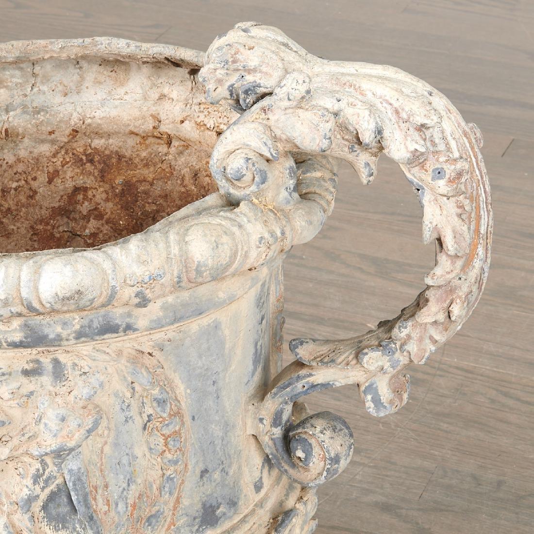 Pair Charles II style lead garden urns - 8
