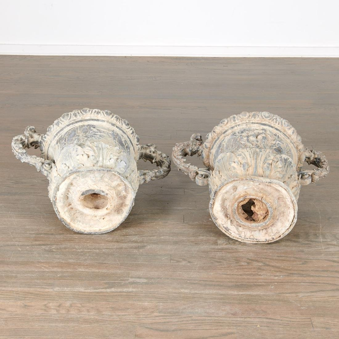 Pair Charles II style lead garden urns - 9