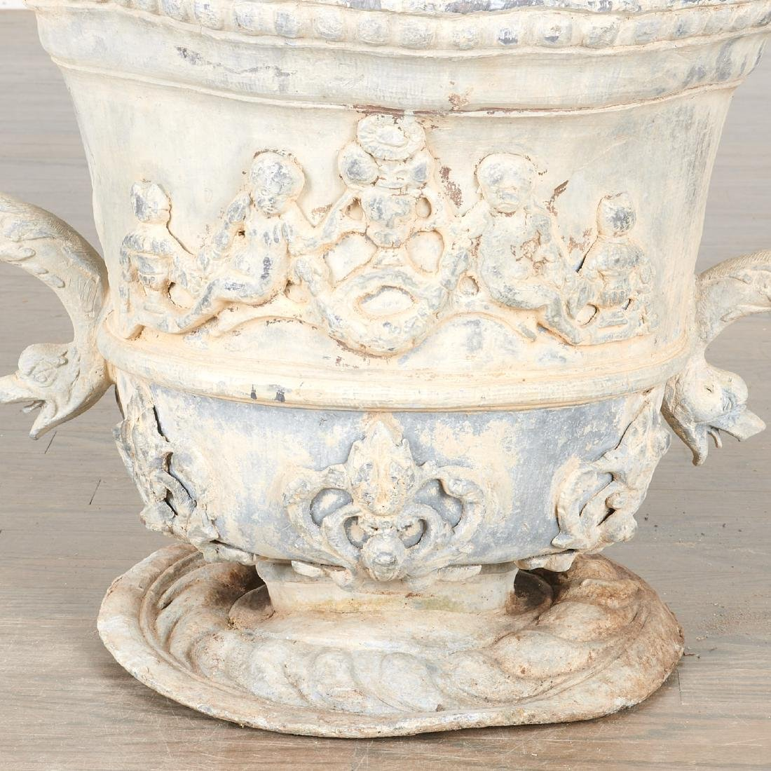 Pair Charles II style lead garden urns - 7