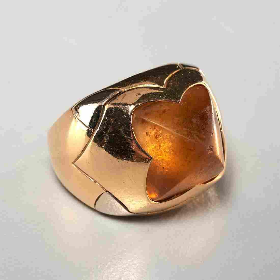 Bvlgari 18k gold and citrine pyramid ring