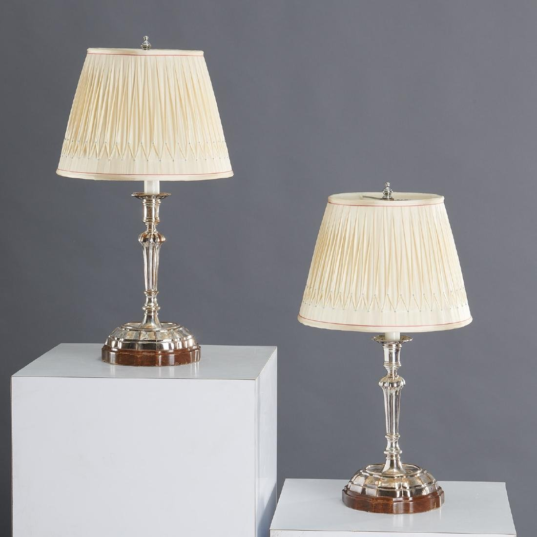 Pair signed Buccellati silver candlestick lamps