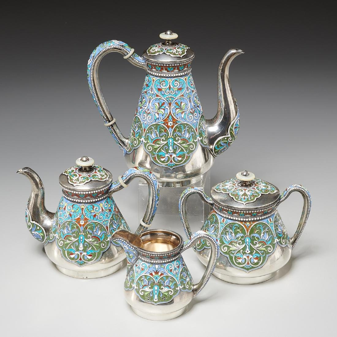 Vasily Agafonov enameled silver coffee service