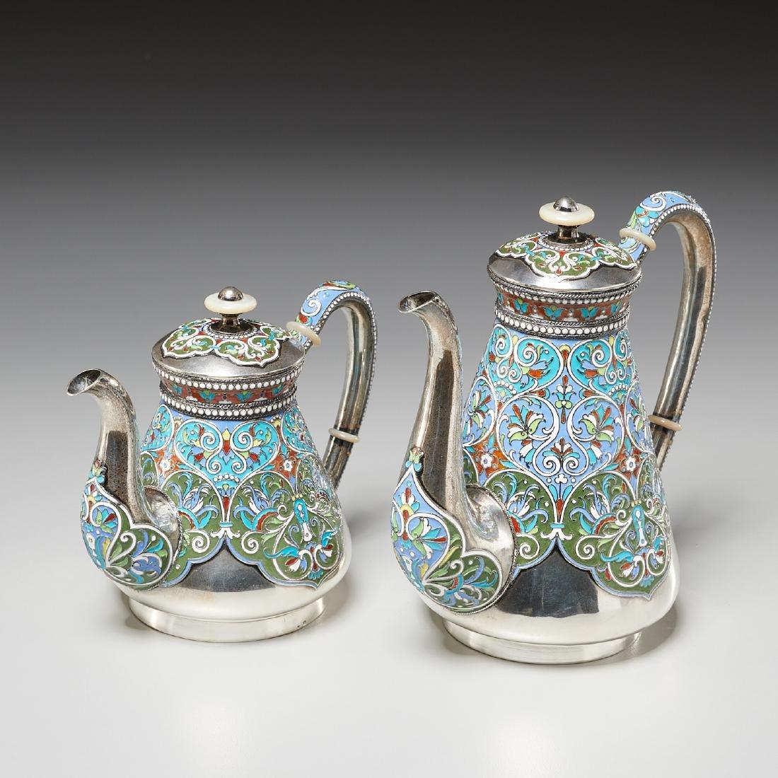 Vasily Agafonov enameled silver coffee service - 2