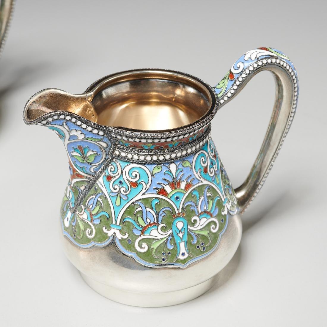 Vasily Agafonov enameled silver coffee service - 5