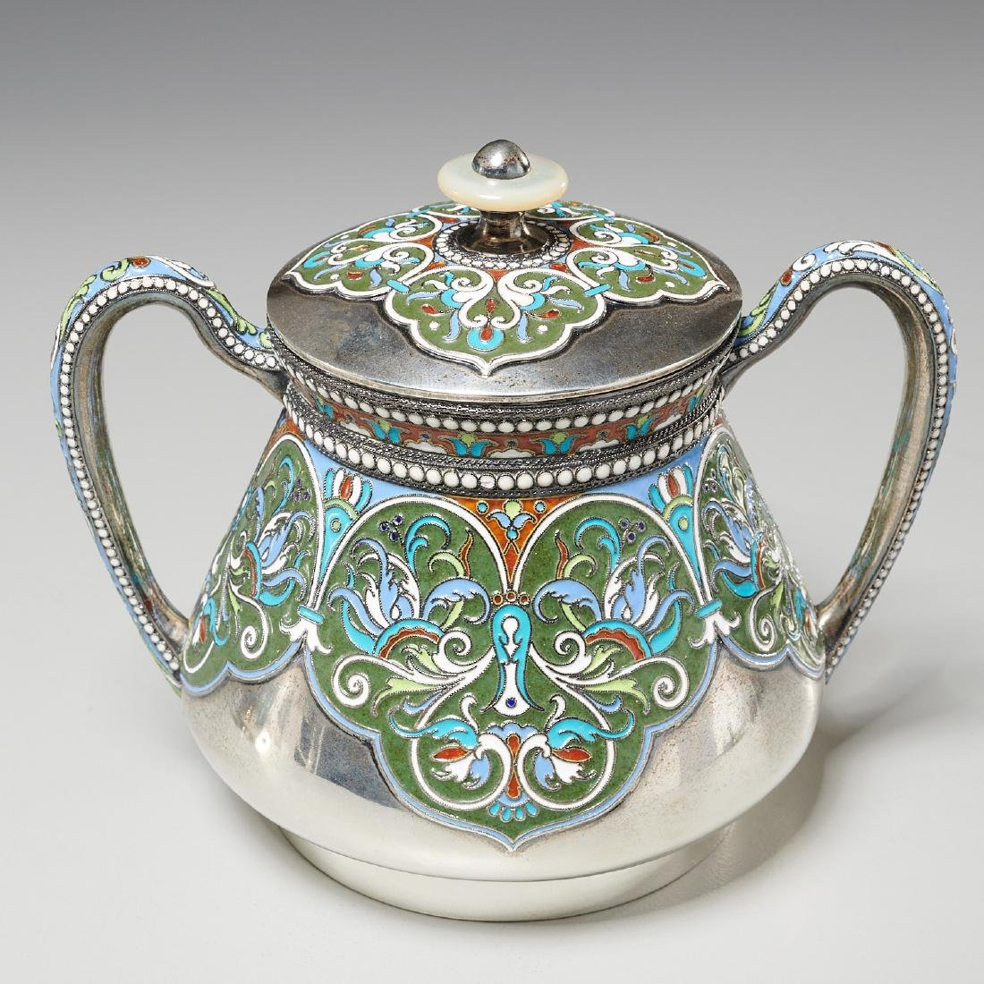 Vasily Agafonov enameled silver coffee service - 6