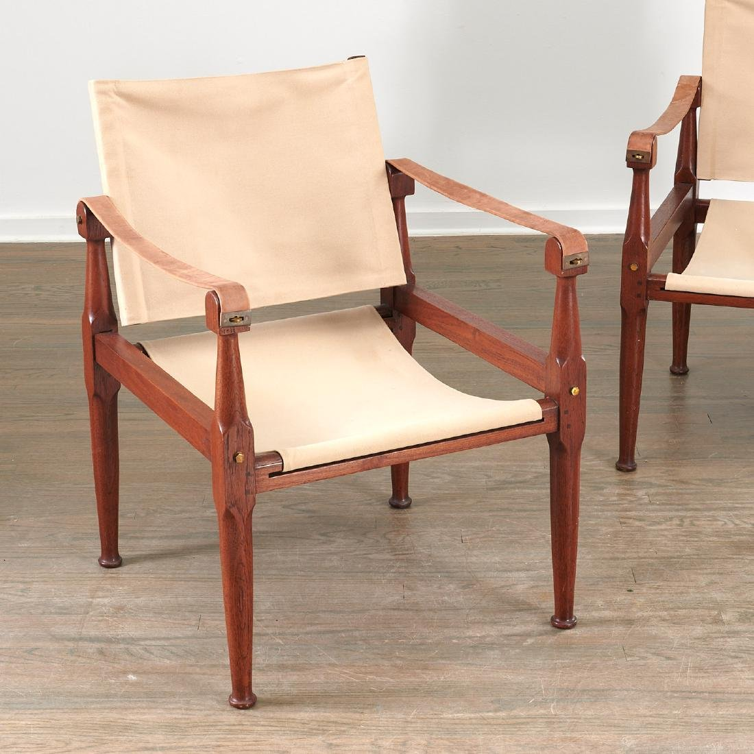 Pair Kaare Klint style safari chairs