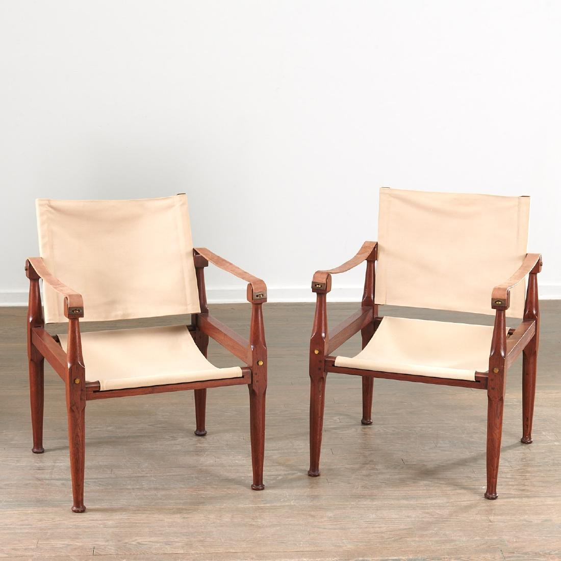 Pair Kaare Klint style safari chairs - 2
