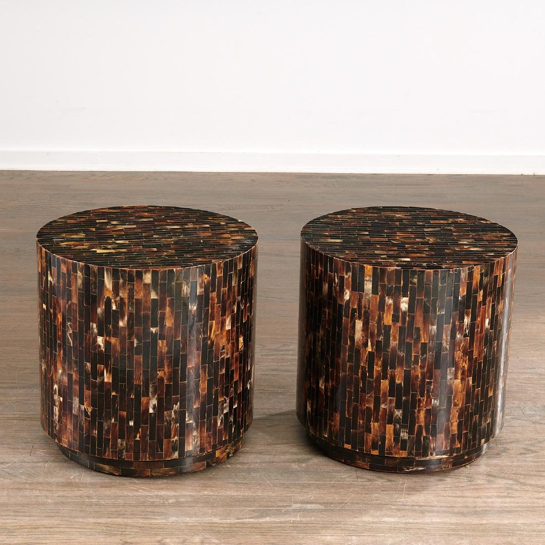 Pair Enrique Garcel tessellated horn drum tables