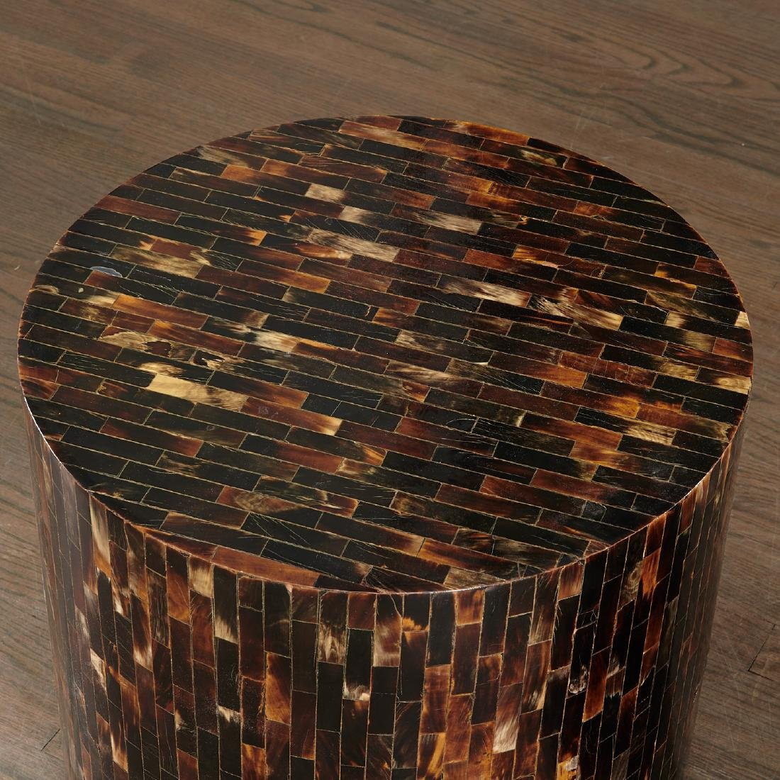 Pair Enrique Garcel tessellated horn drum tables - 2