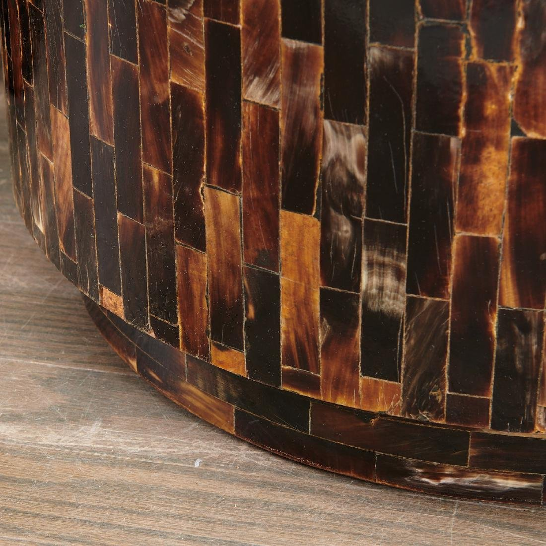 Pair Enrique Garcel tessellated horn drum tables - 5