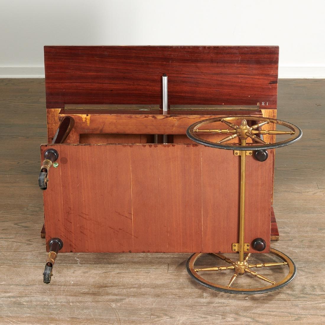 Aldo Tura drop-leaf rolling bar cart - 10