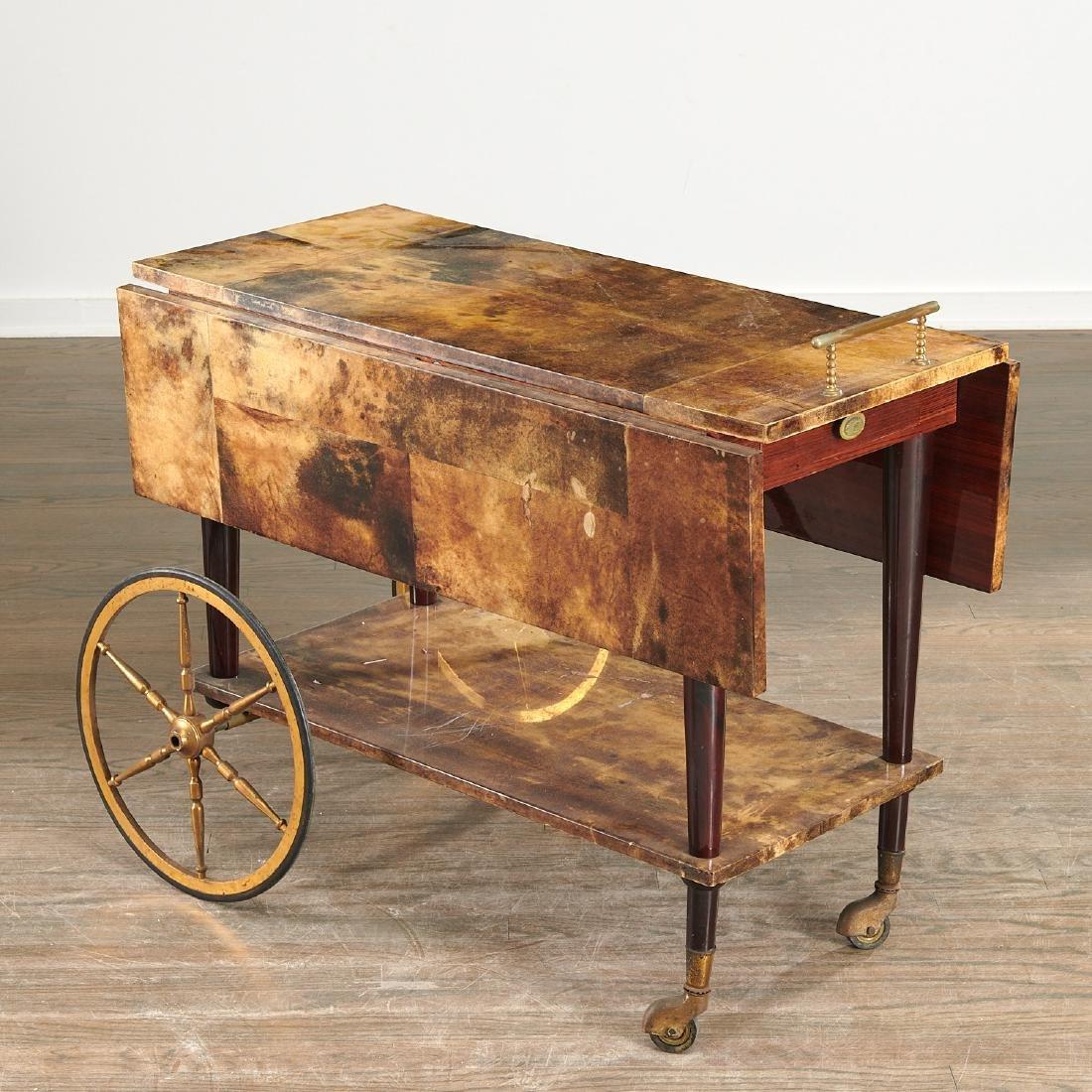 Aldo Tura drop-leaf rolling bar cart