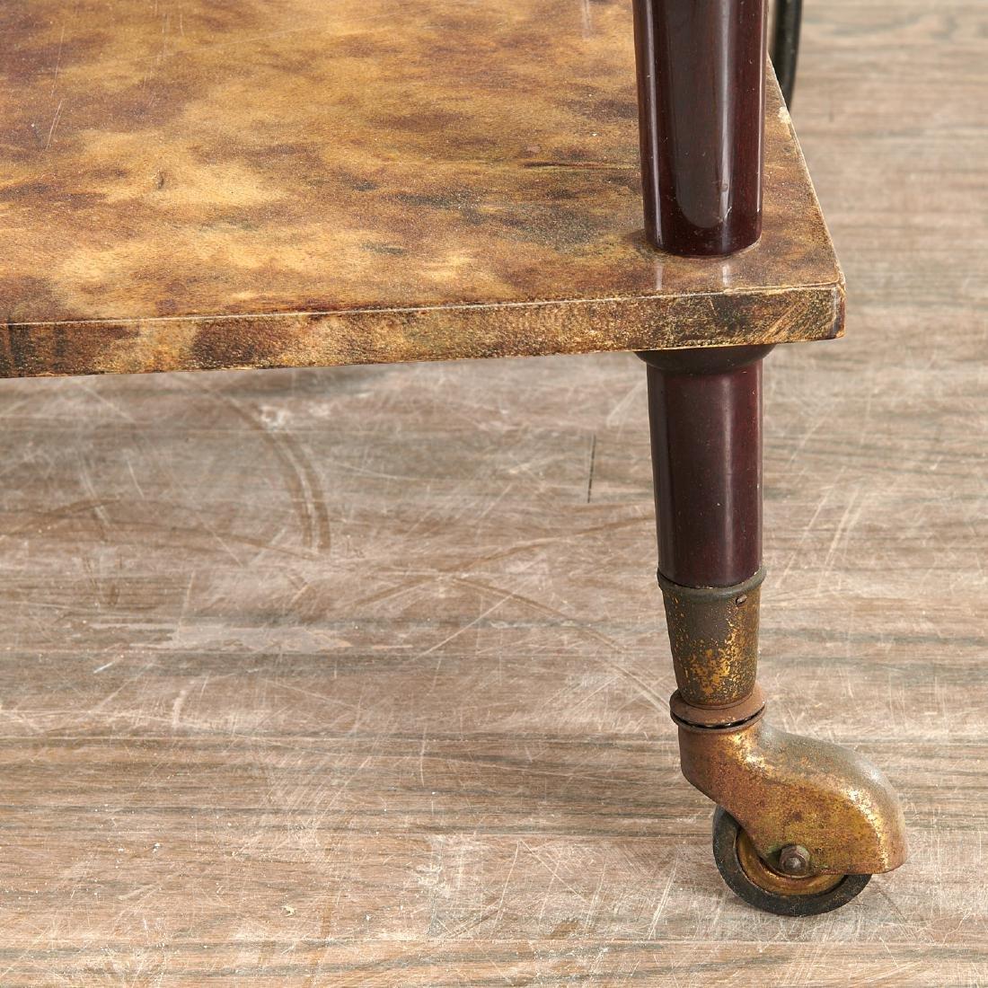 Aldo Tura drop-leaf rolling bar cart - 2