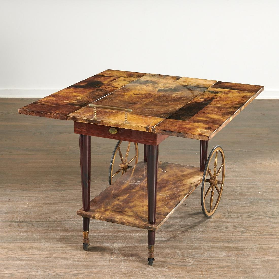 Aldo Tura drop-leaf rolling bar cart - 3