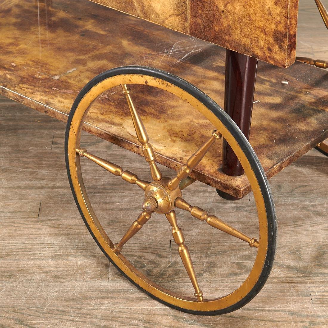Aldo Tura drop-leaf rolling bar cart - 8