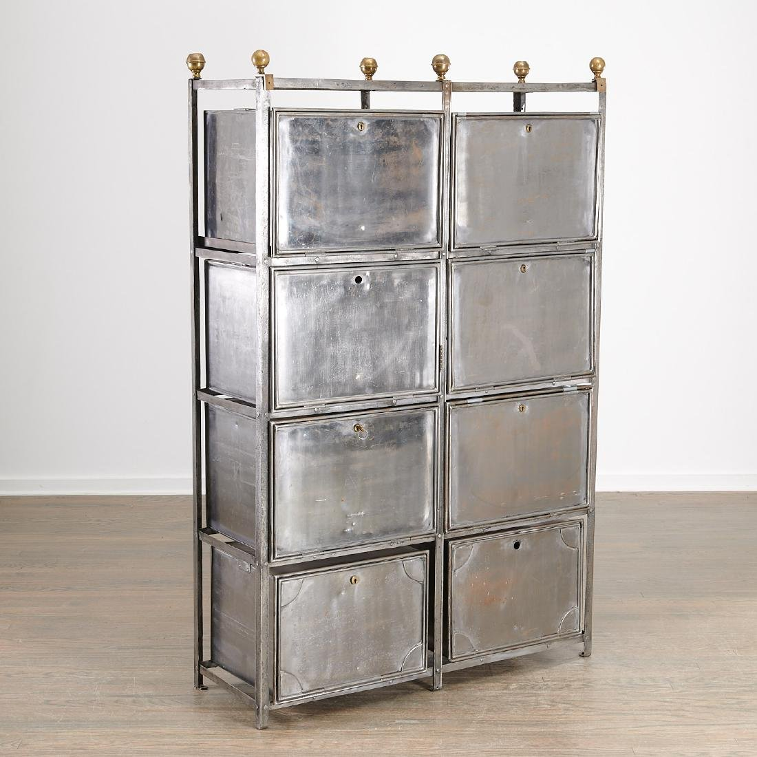 Campaign style steel and brass storage unit
