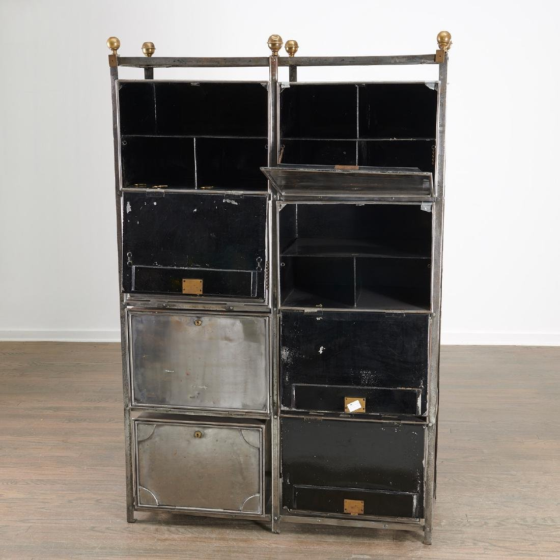 Campaign style steel and brass storage unit - 3