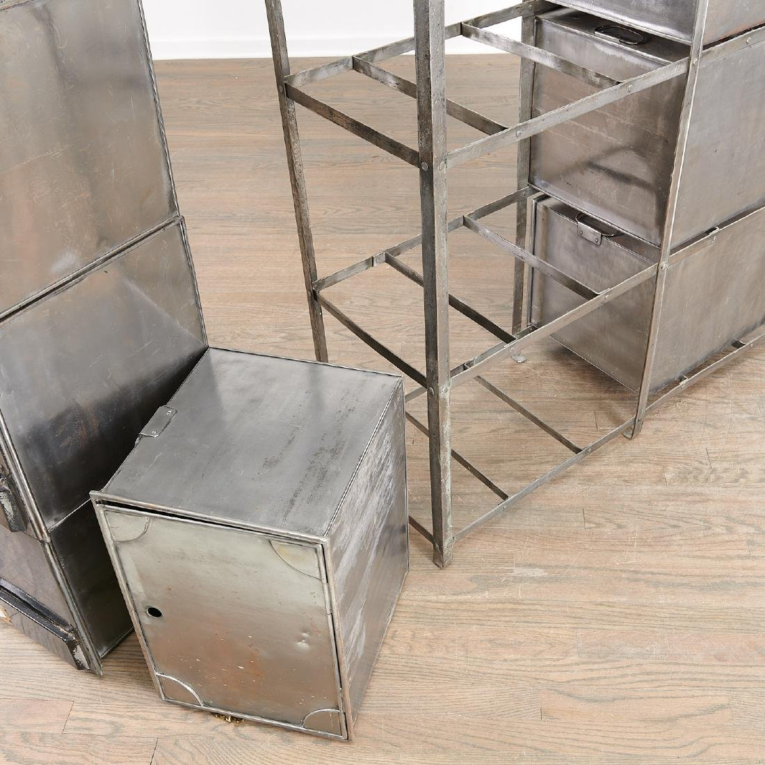 Campaign style steel and brass storage unit - 6