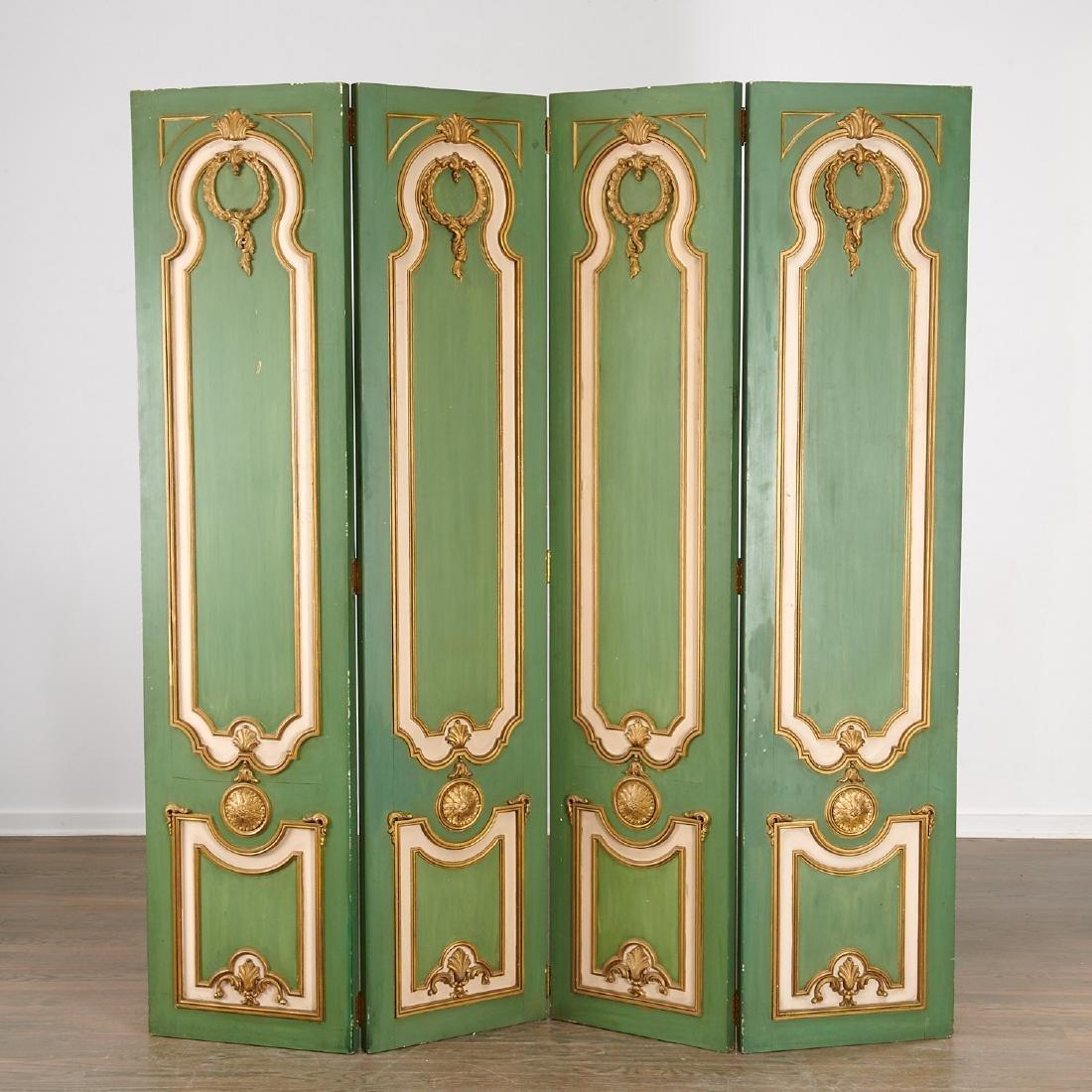 Signed Maison Jansen Louis XVI four-panel screen