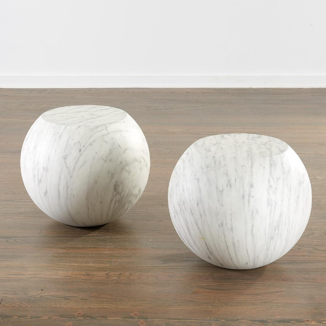 Pair Cappelini marbleized 'Bong' tables