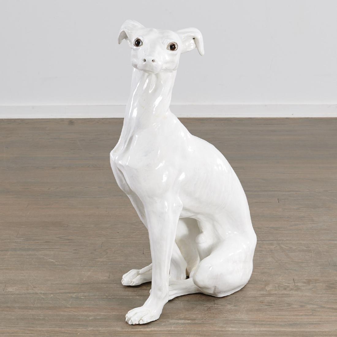 Life-size Italian glazed pottery Greyhound