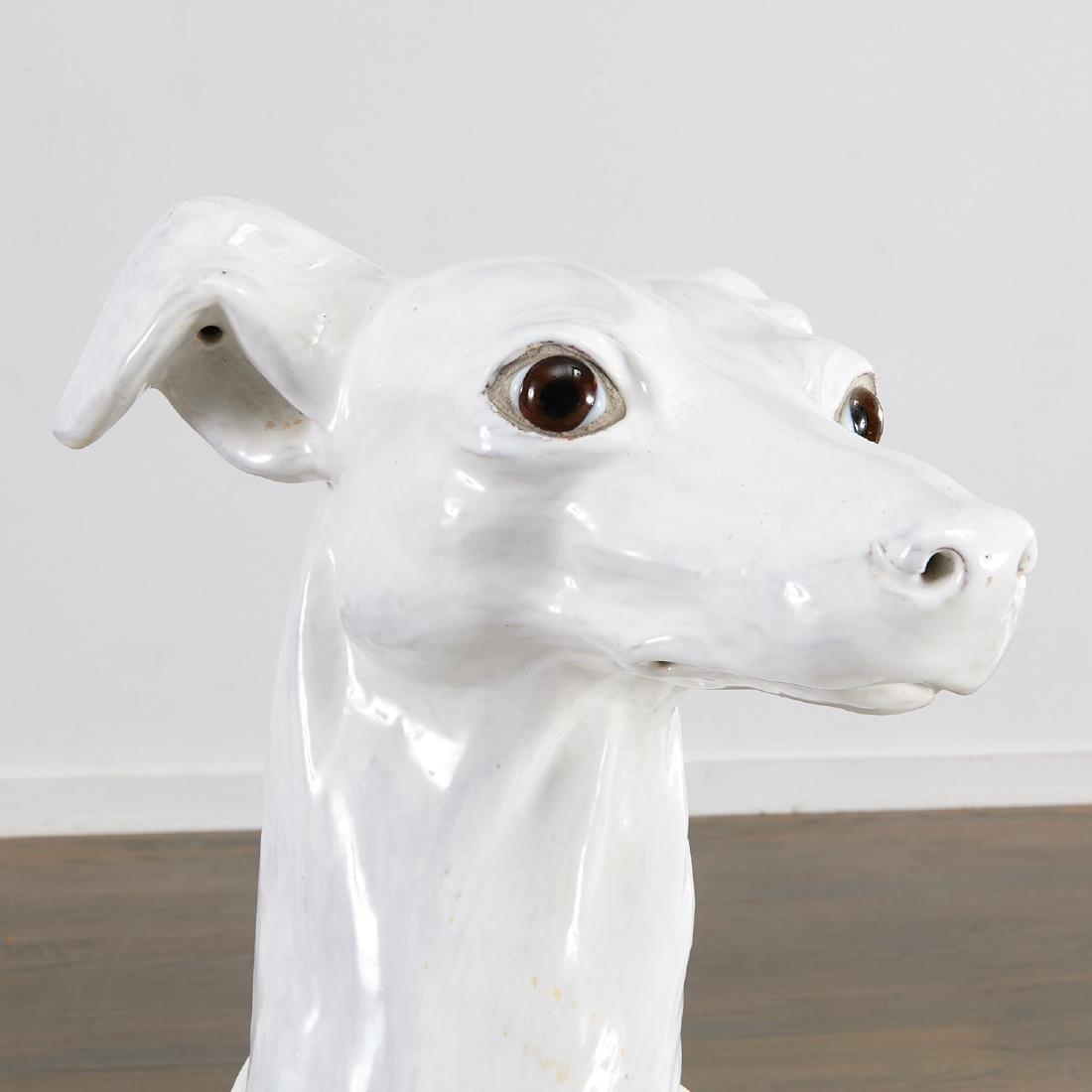 Life-size Italian glazed pottery Greyhound - 2