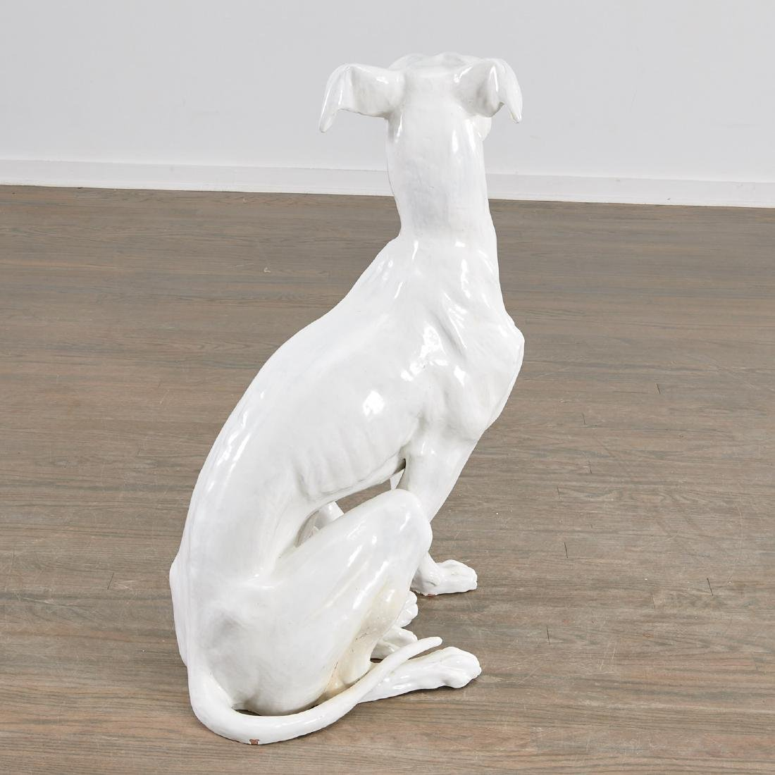 Life-size Italian glazed pottery Greyhound - 7