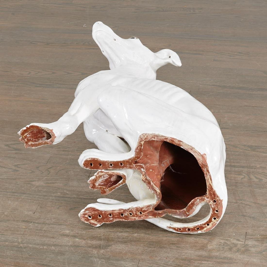 Life-size Italian glazed pottery Greyhound - 8