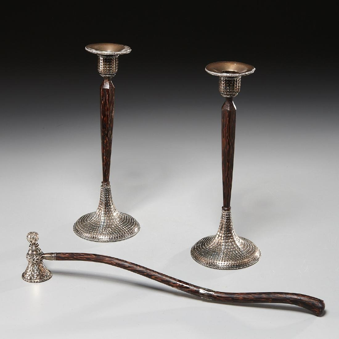 John Hardy sterling candlesticks and snuffer