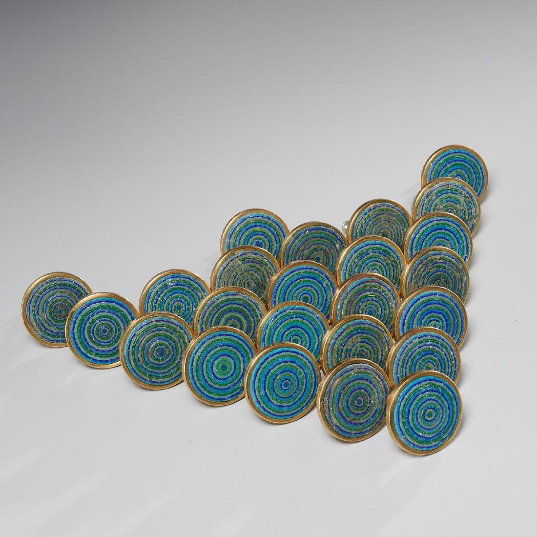 (24) Evelyn Ackerman micro-mosaic and brass pulls