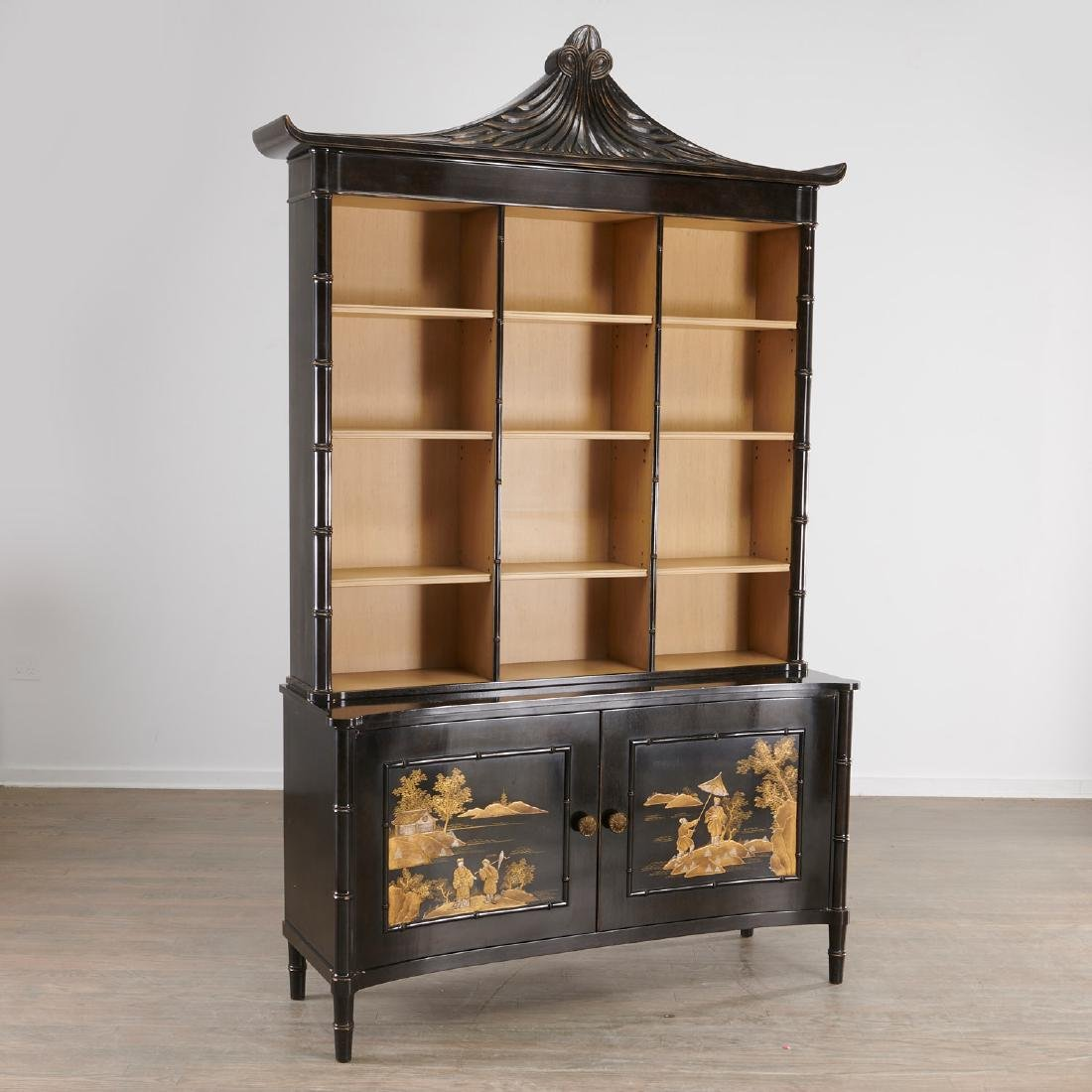 Regency style Chinoiserie lacquer bookcase cabinet